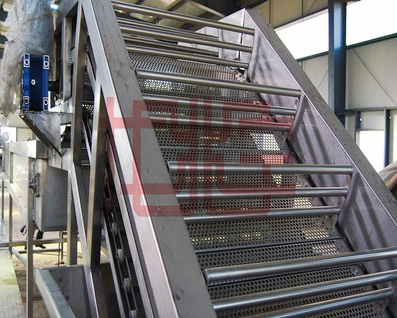 Wholesale stainless steel mesh chain conveyor, fruit elevator, fruit and vegetable hoist, and product lifter.